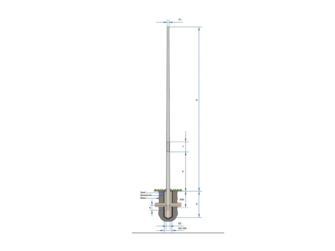 Pole-top mounting, aluminium, graduated - 60 - 6000