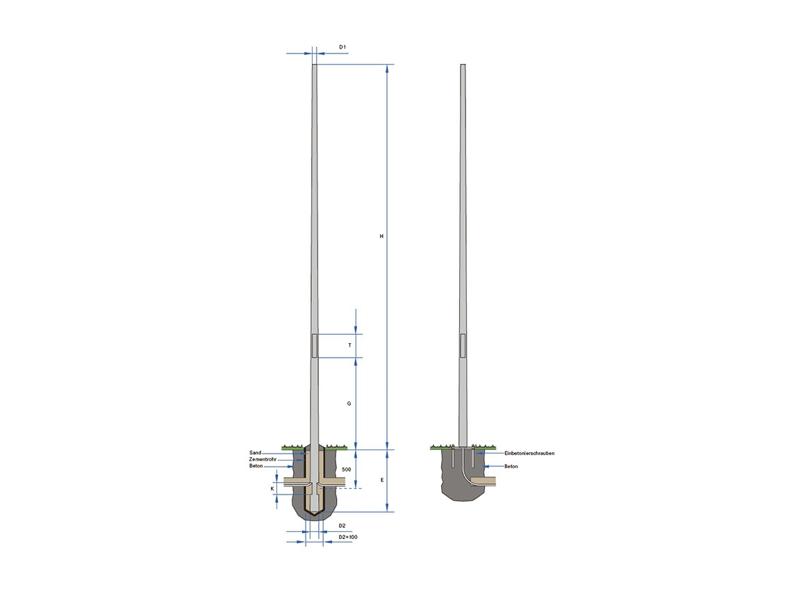 Pole-top mounting, steel (Swiss Standard)  - 60 - 3500